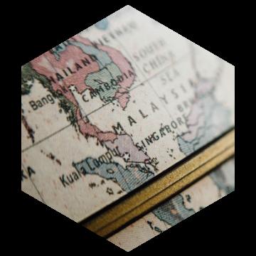 Globe hexagon 360x360